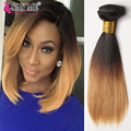 Cheap 1b 4 27 30 Ombre Brazilian Virgin Straight Hair 3 Bundles Short Ombre Blonde Bob Human Hair Weave 2/3 Tone Hair Extensions