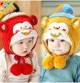 Invierno Bebé Niño Niña Invierno Ear Flap Sombrero Caliente Bebe sombrero Con La Bufanda Casquillo de la Gorrita Tejida del Mono Niños Gorro de Invierno Los Niños Headwear
