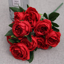 10 heads artificial peony flower flowers fake bunch plant leaves office home hotel wedding decor