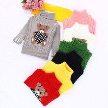 Cartoon Turtleneck Sweaters for Kids Knitted Pullovers Outwear Cute Panda Pattern Girls Boy Sweaters Warm Knitwear Kids Clothing