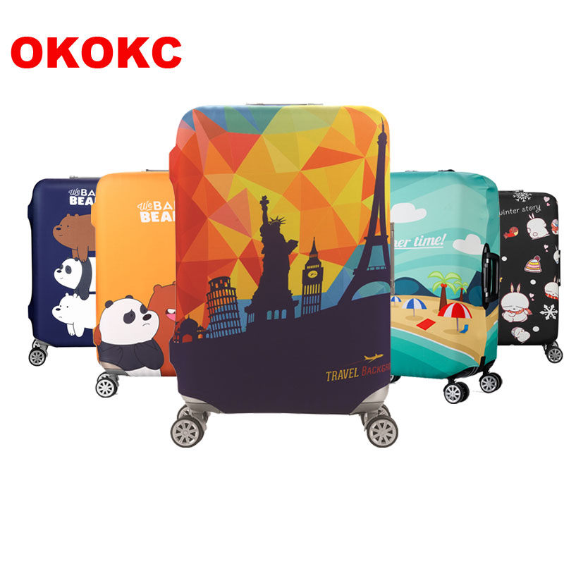 OKOKC Travel Thickest Elastic Luggage Cover Cartoon Suitcase Protective Cover, Apply To 18-32'' Cases, Travel Accessories