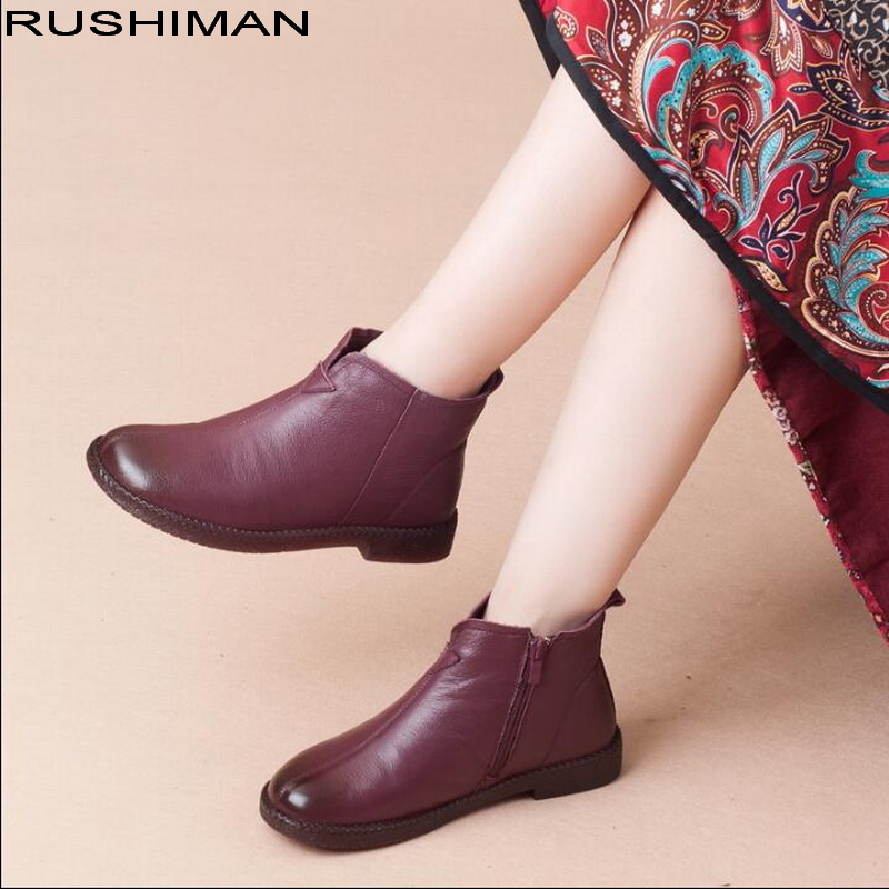 2018 winter plus velvet warm simple Genuine Leather Ankle Boots non-slip flat mother shoes snow boots2018 winter plus velvet warm simple Genuine Leather Ankle Boots non-slip flat mother shoes snow boots