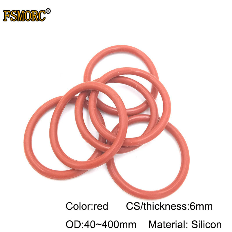 50pcs 1.9mm Thickness Silicon Rubber 5-25mm OD Red Heat Resistance O Ring