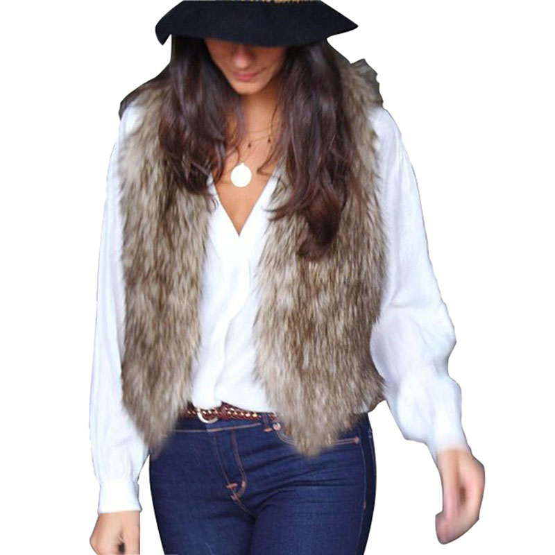 Winter Fur V-neck Sleeveless Vest Coat Luxury Faux Fox Warm Women Vests Fashion Furs Coats Jacket Veste Gilet Outerwear