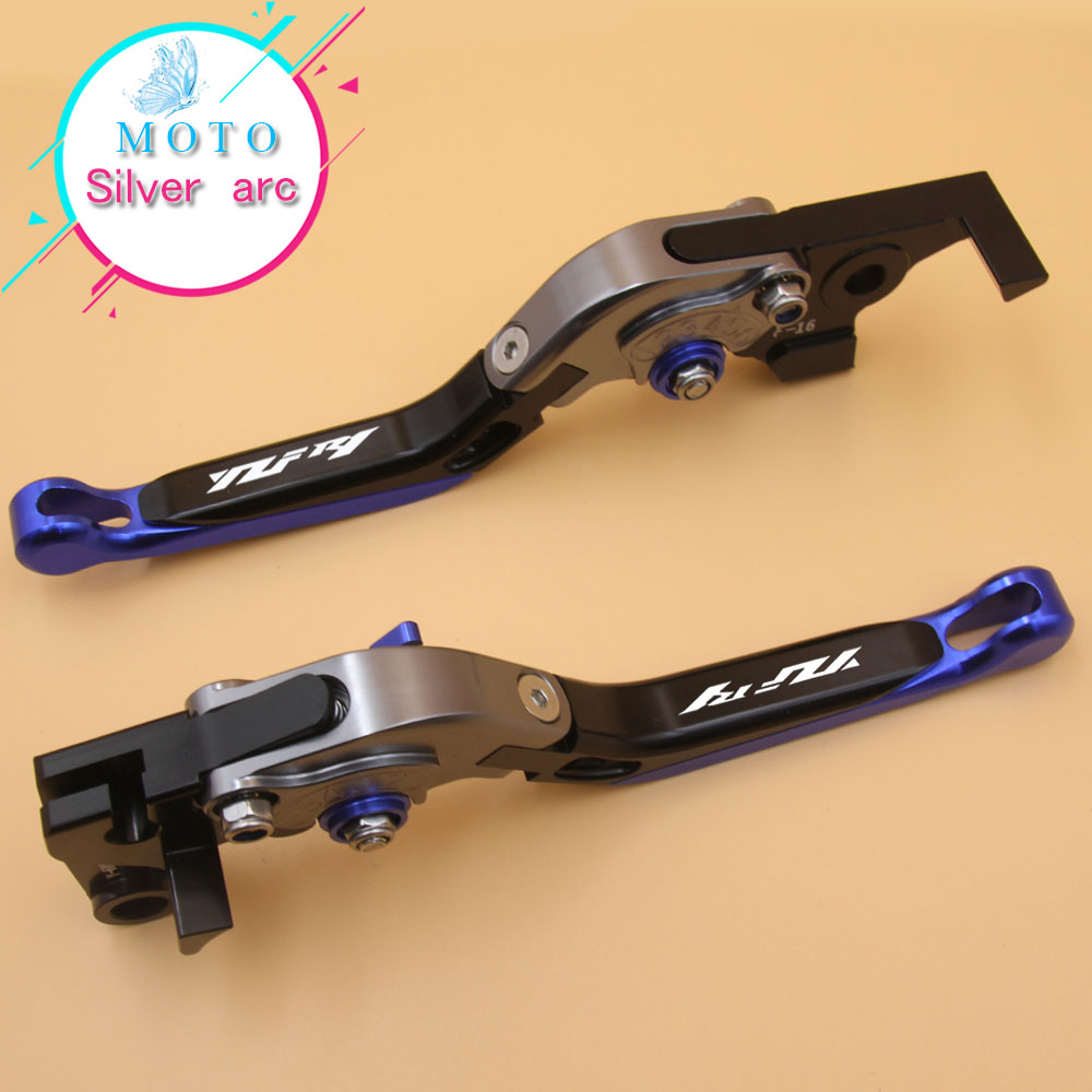 Laser Logo(YZF R1) Blue+Titanium 16 Colors CNC Folding Motorcycle Brake Clutch Levers For Yamaha YZF R1 2004 2005 2006 2007 2008 6 colors cnc adjustable motorcycle brake clutch levers for yamaha yzf r6 yzfr6 1999 2004 2005 2016 2017 logo yzf r6 lever