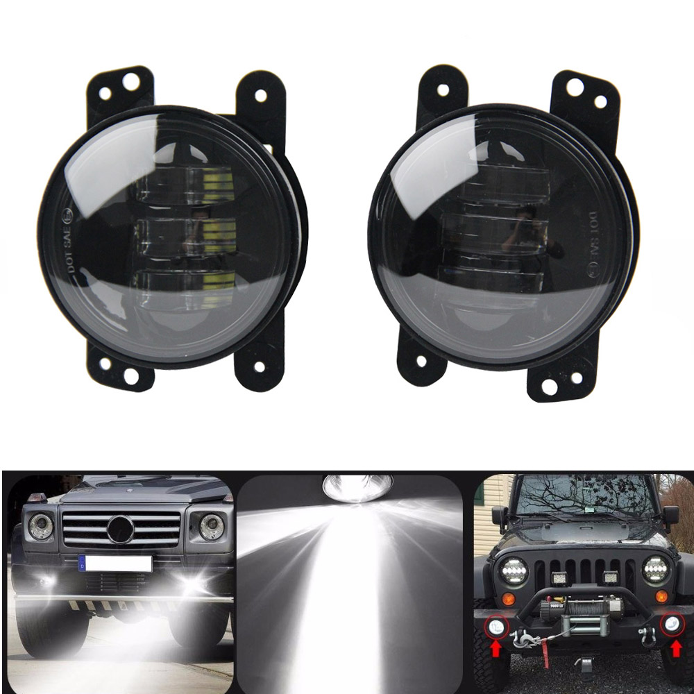 2pcs 4 inch LED Spot Fog 30W Lamps Auxiliary Light DRL Light Passing Light for Jeep Wrangler JK CJ TJ on sale 2pcs auto accessories 6500k 4inch 30w led fog lamp light fits for jeep wrangler jk 2007 2015