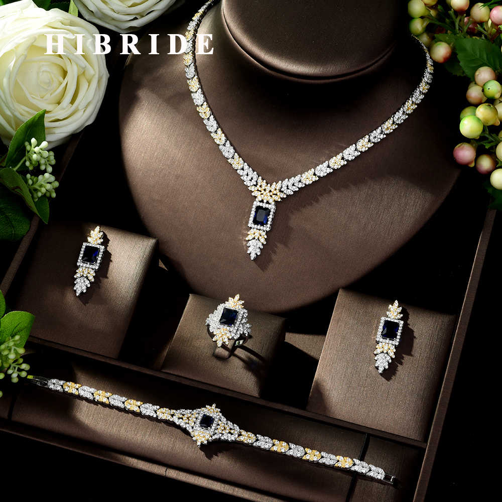 HIBRIDE Classic Square Shape Cubic Zirconia Jewelry Bridal Set Sparkling Bridal Necklace Earring Ring Bracelet Set Engage N-1026