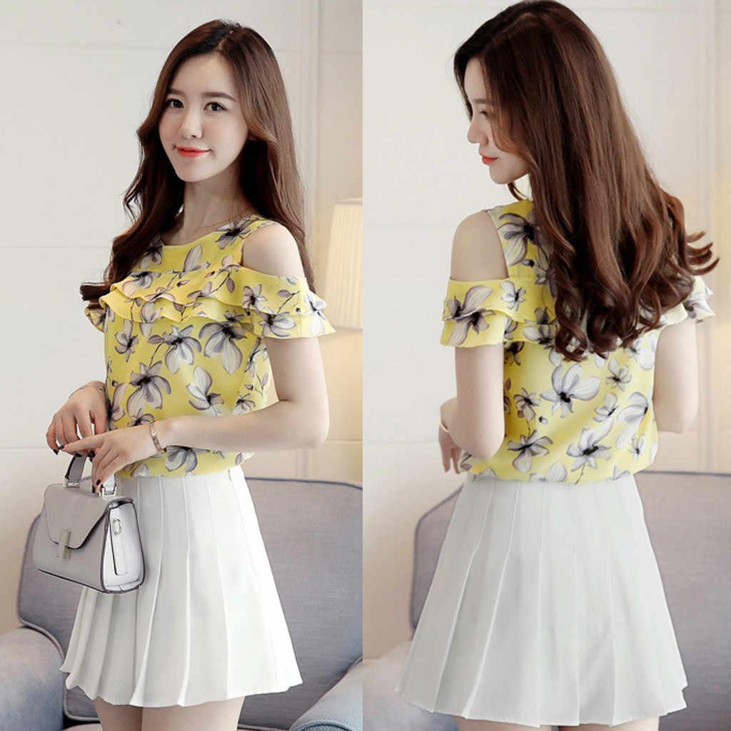 Летняя женская рубашка с открытыми плечами, топы с оборками, повседневные блузки с круглым вырезом и цветочным принтом, шифоновая блузка, blusas mujer de moda