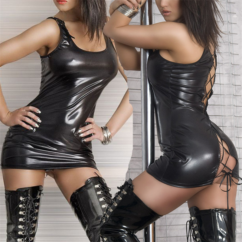 Women <font><b>Sexy</b></font> <font><b>Black</b></font> Faux <font><b>Leather</b></font> Back Lace Up Bandage Bodycon Mini Exotic <font><b>Dress</b></font> Wet Look Teddies <font><b>Sexy</b></font> Clubweaer Babydoll Nightwear image