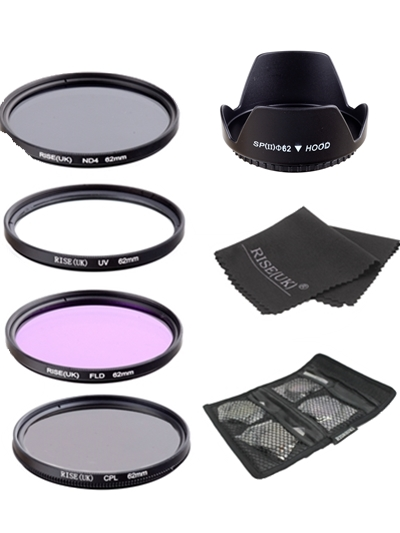 UV+CPL+FLD+ND4 Neutral Density Camera Filters Kit Optical Glass 62mm For Canon Nikon Sony Fuji DSLR&lens hood & Gifts