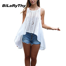 BiLaRyThy Summer Beach Style Women's Spaghetti Strap Top Hollow Out Lace Patchwork Solid White Irregular Tank Tops Shirts