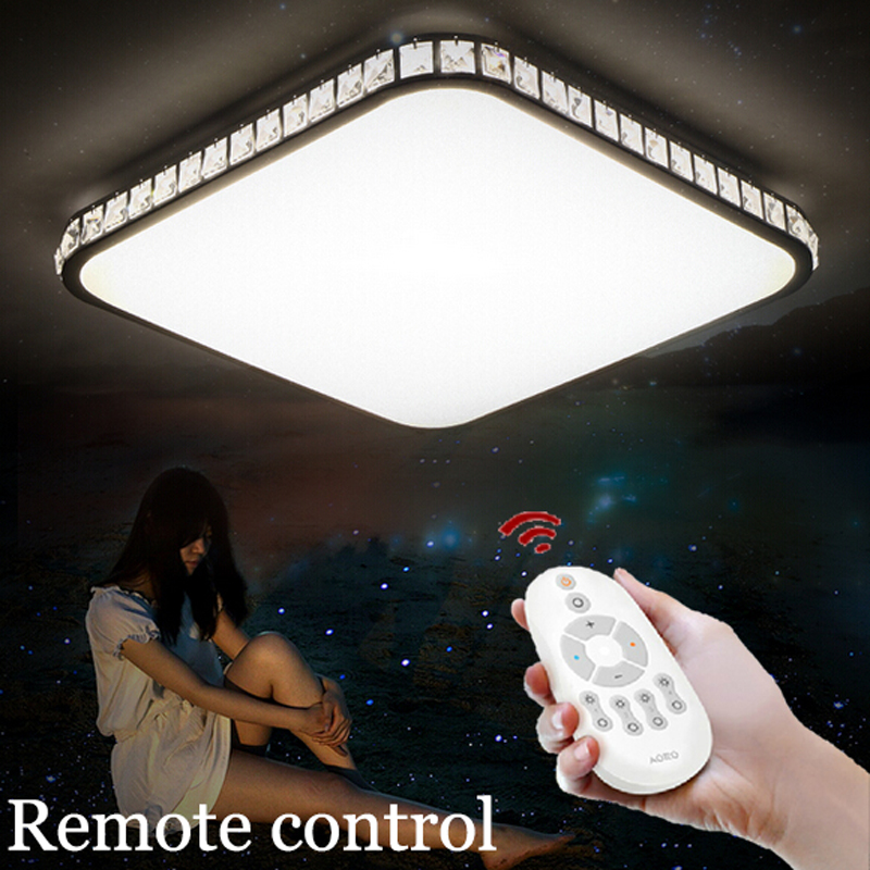 Modern brief K9 crystal remote control led ceiling lamp home deco living room saquare iron acrylic ceiling lighting fixtures black and white round lamp modern led light remote control dimmer ceiling lighting home fixtures