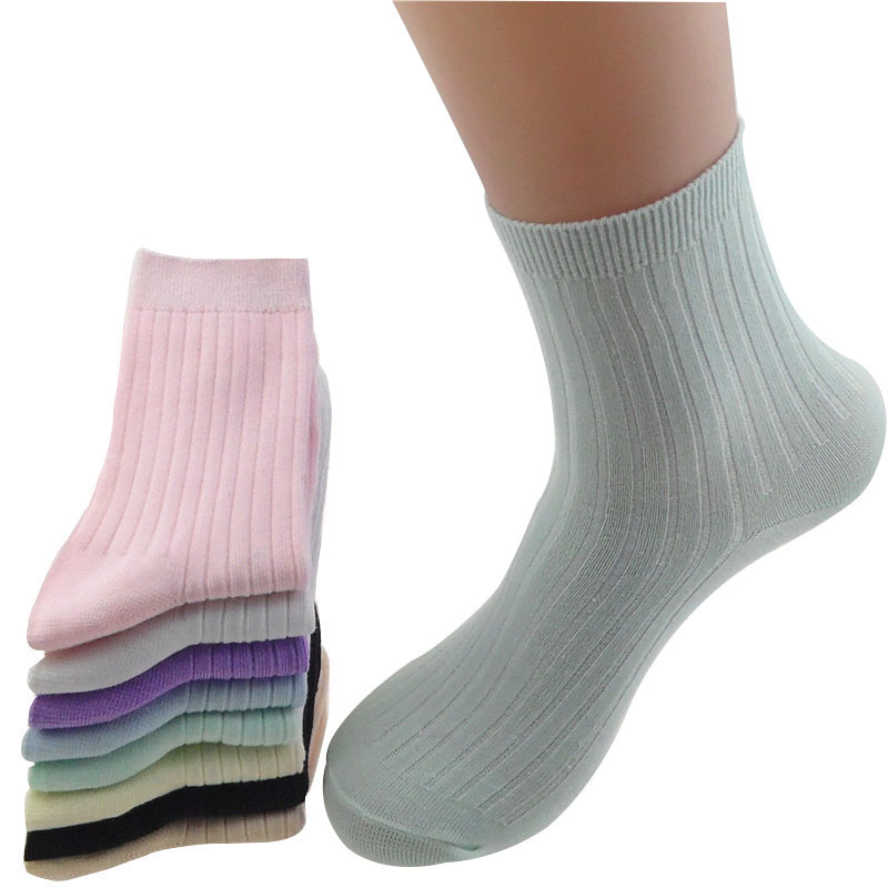 6 Pairs Women Socks Spring Summer In High-Grade Bamboo Fiber Socks Candy Color Tube Fashion Women Comfortable Cotton Women Socks