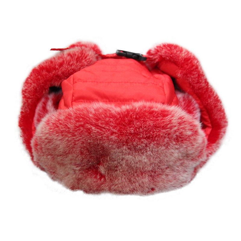 2017 New Children's Real Rex Rabbit Fur Lei Feng Hat Winter Warm Ear Protection Caps Boys Grils Thick Beanies Solid Hats H#12 2016 children real rabbit fur hats boy girl winter warm solid hat for kids child ear hat lei feng unises red black cap qmh06