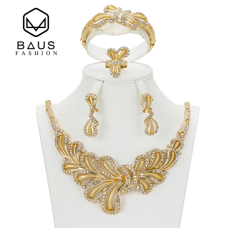 BAUS Wholesale 2017 High-quality Nigerian Africa Beads Wedding Jewelry Set Bridal Dubai Gold Color African Beads Jewelry Set
