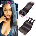 Brasileiro reta cabelo virgem com fecho de cabelo humano weave 3 bundles com lace closure cabelo liso brasileira com fecho