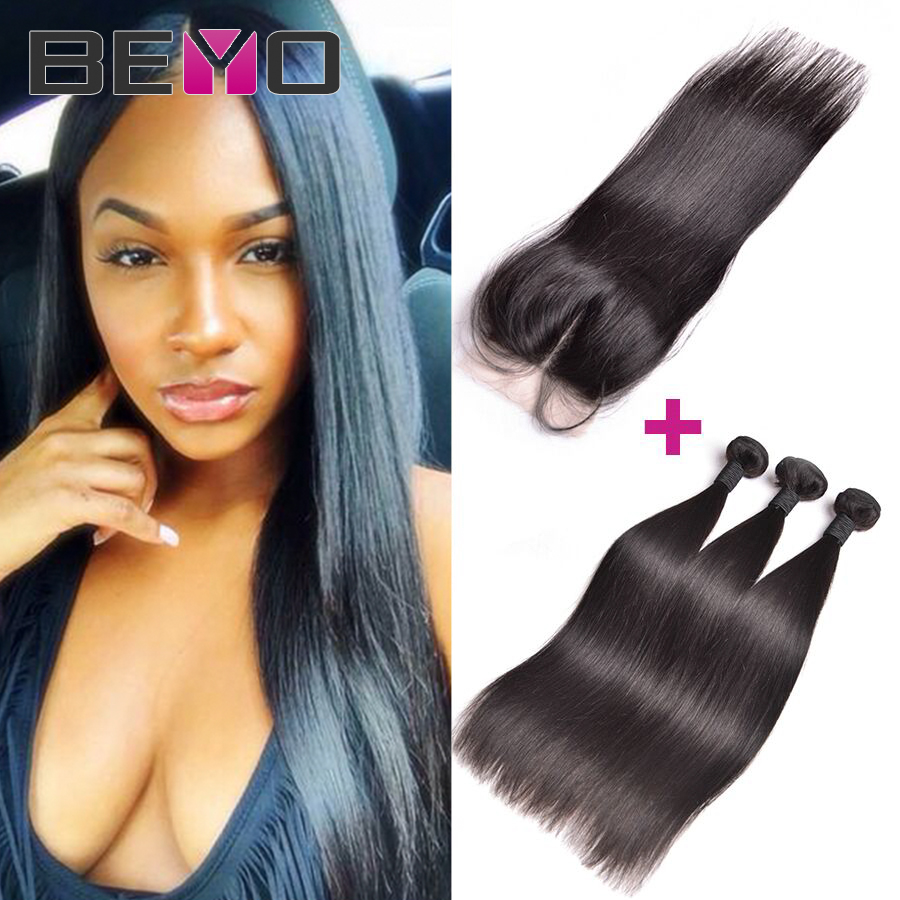 Brazilian Virgin Hair Straight With Closure Human Hair Weave 3 Bundles With Lace Closure Brazilian Straight Hair With Closure