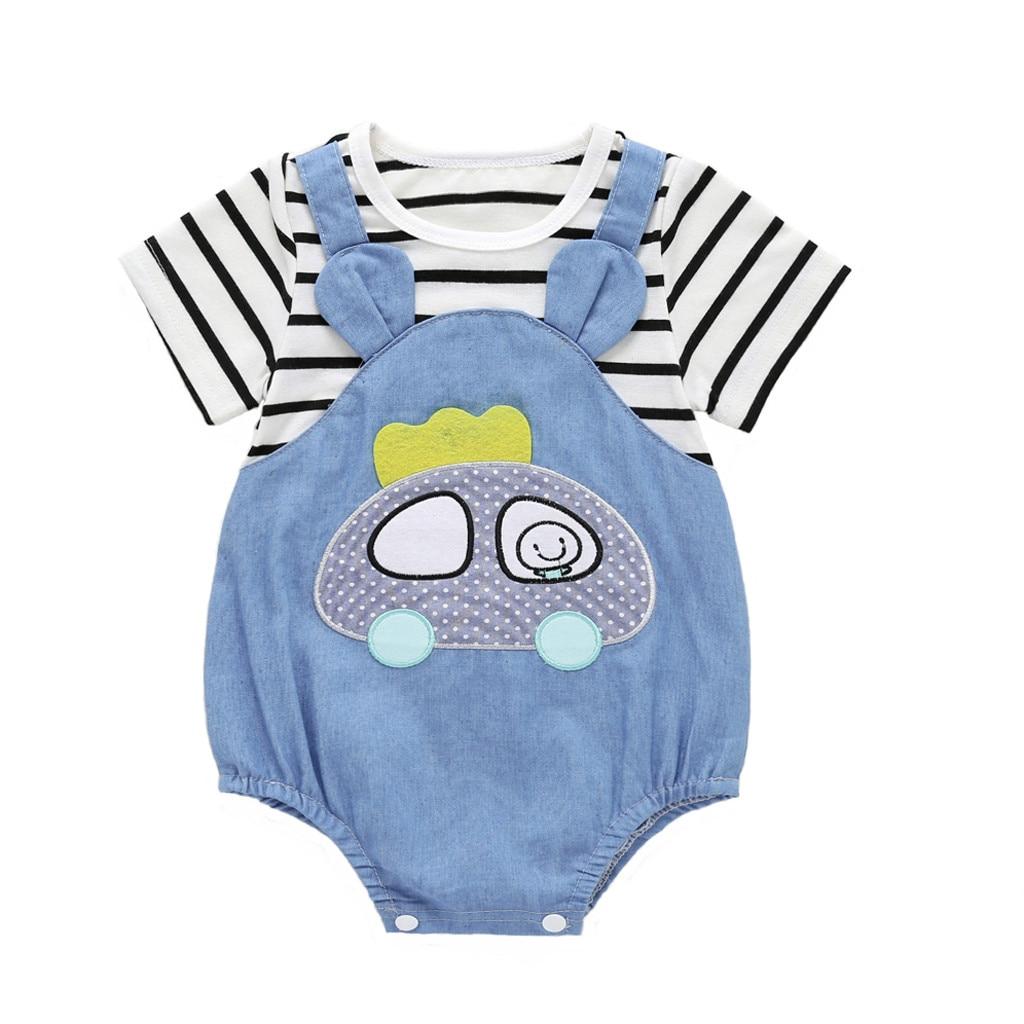 NWT Baby Boy CARTERS Denim Romper Bodysuit Size 6 Months