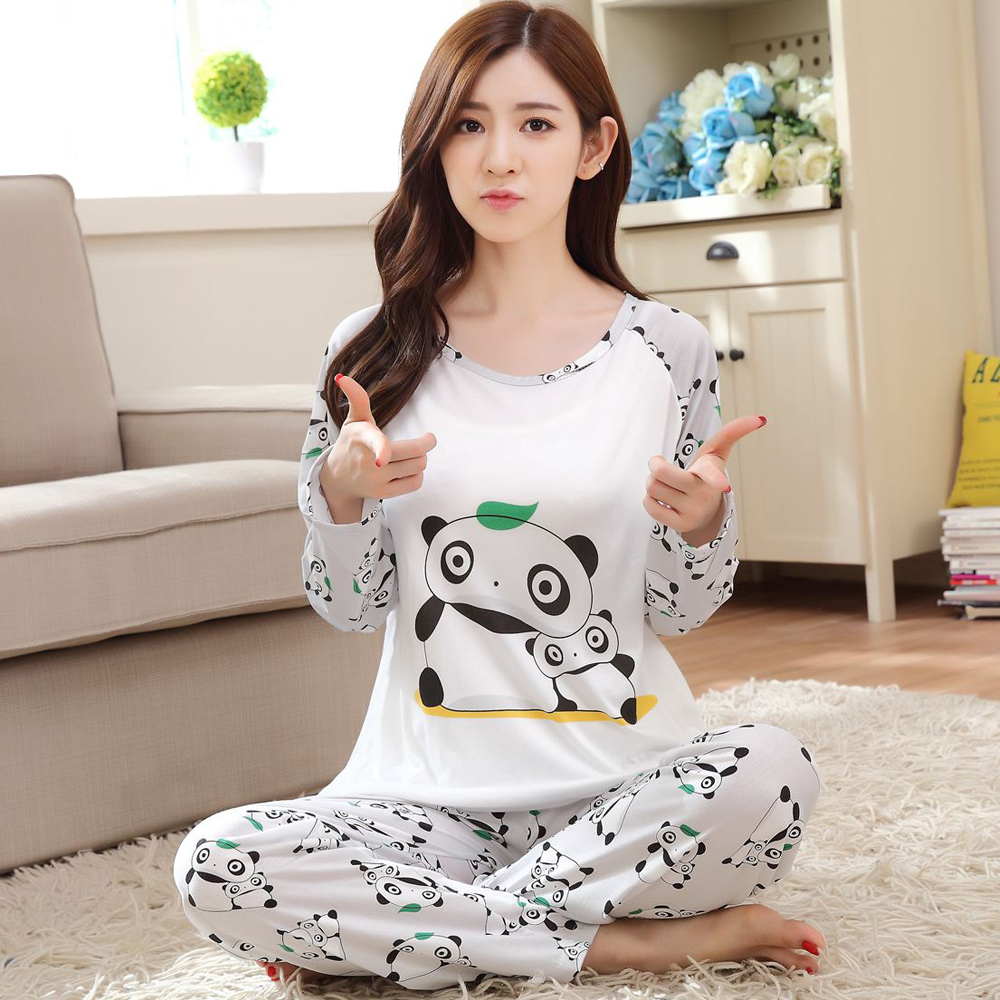 cute cartoon panda pajama sets for women long sleeve pijama pajamas pyjama femme sleepwear girls. Black Bedroom Furniture Sets. Home Design Ideas