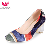 A-BUYBEA Size 43 Fashion Retro Women Crystal High Heels Pumps Sexy Prints Wedding Party Shoes Woman Slip On Quality Prom