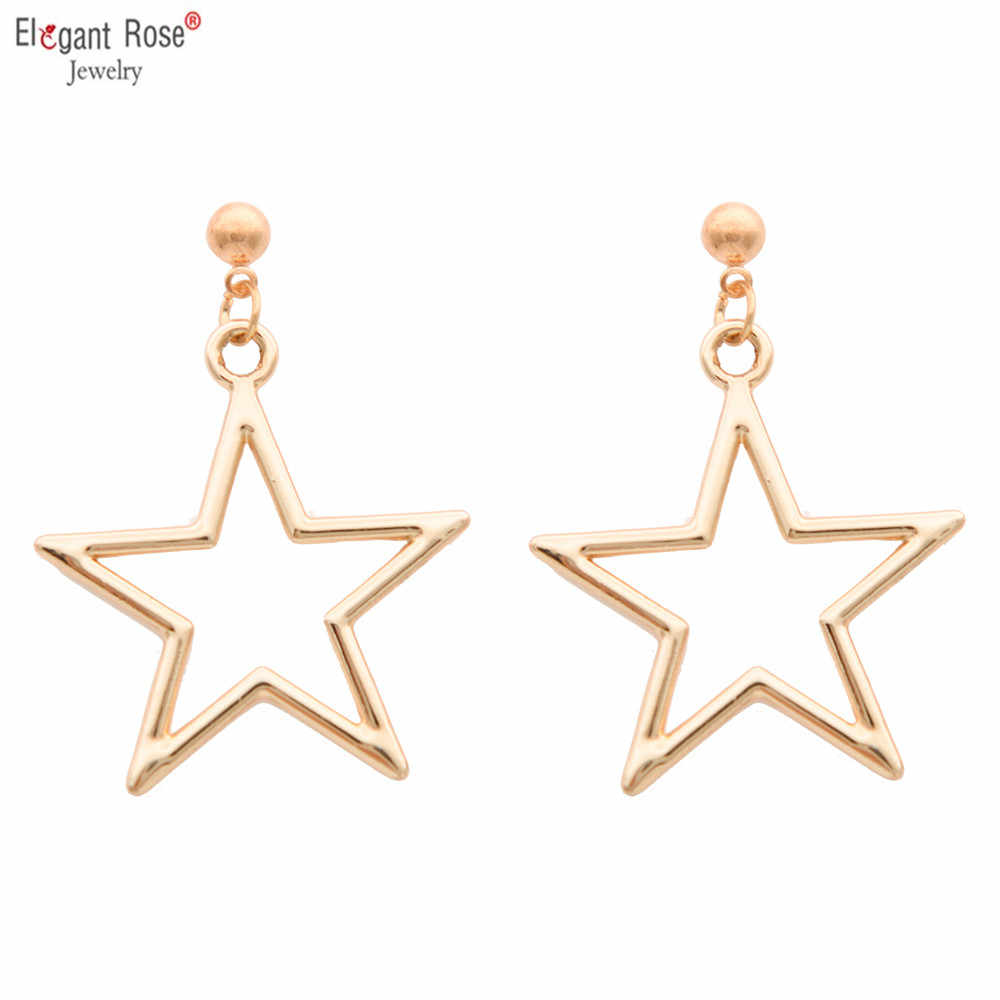 Fashion Gold Silver Star Love Heart Round Circle Triangle Earrings for Women Girls Geometric Minimalist Jewelry Accessories Gift