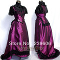 Purple Short Sleeve ROCOCO Ball Grown Gothic Medieval Victorian Dress Halloween Costume Adult