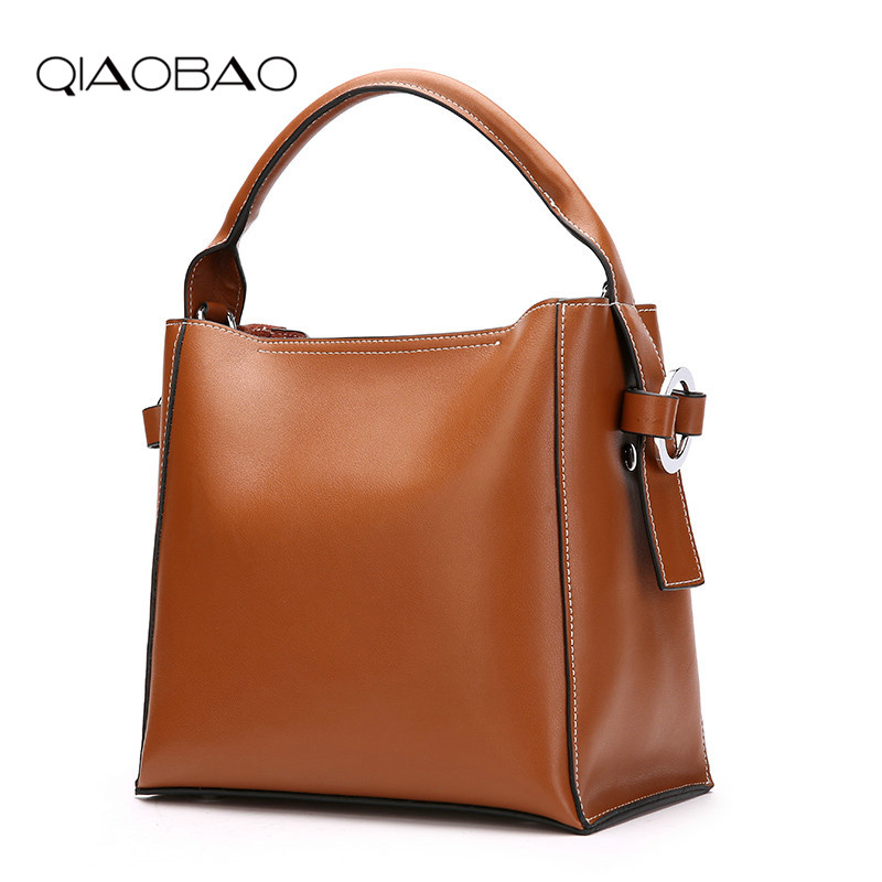 QIAOBAO Real Cow Leather Ladies HandBags Women Genuine Leather bags Totes Messenger Bags Hign Quality Designer Luxury Brand Bag