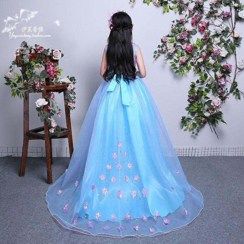 Filles longue Maxi robe de mariage fleur Tutu robe enfants fantaisie fête de noël élégante fille robe de bal 6 9 10 11 12 13 14 ans