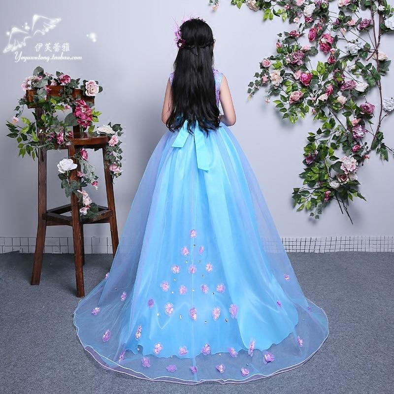 Girls Long Maxi Dress Wedding Flower Tutu Dress Kids Fancy