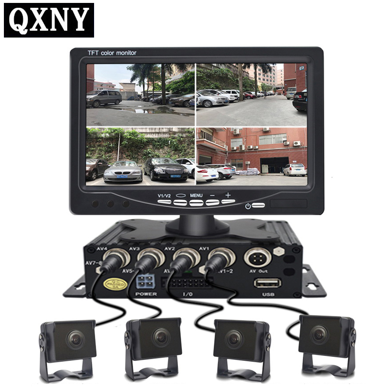QXNY DC12V 24V 7 LCD 4CH Video input Car Video Monitor For Front Rear Side View