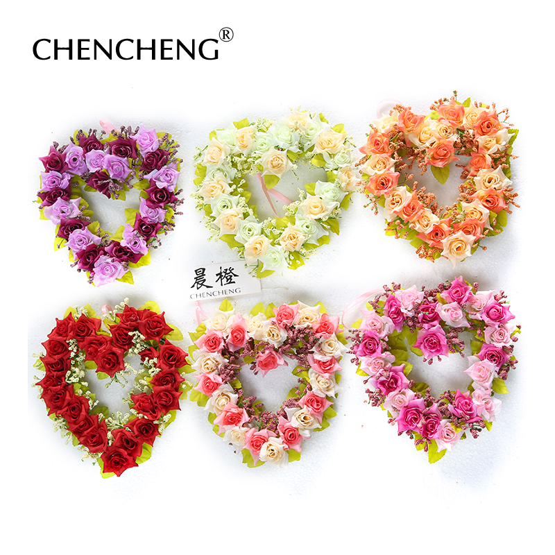 Beautiful Flowers flower Wedding decoration flowers Rose Heart shape Wreaths Bried Decoration Room Christmas Gift CHENCHENG ...