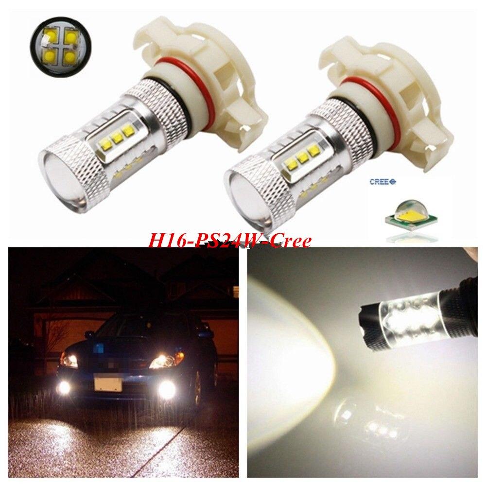 2x супер яркий автомобиль белый CREE чип 80 Вт высокой мощности Мощность H16 5202,12086,PS24W,H16 противотуманного светильник лампочка DRL светильник PS24W