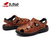 Nieuwe mode Merk Z. suo Zomer mannen casual sandalen ademend Comfortabele Britse lederen sandalen 39-49 plus maat 47 48 49
