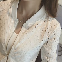 Womens Summer Thin Jacket Lace Long Sleeve Sunscreen Women Clothing Hollow Out Breathable Bomber 2019 White