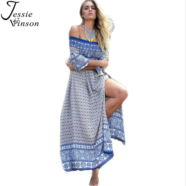 Jessie Vinson Fashion Women Bohemia Style Side Split Summer Maxi Dress Off Shoulder Print Loose Long Beach Dress