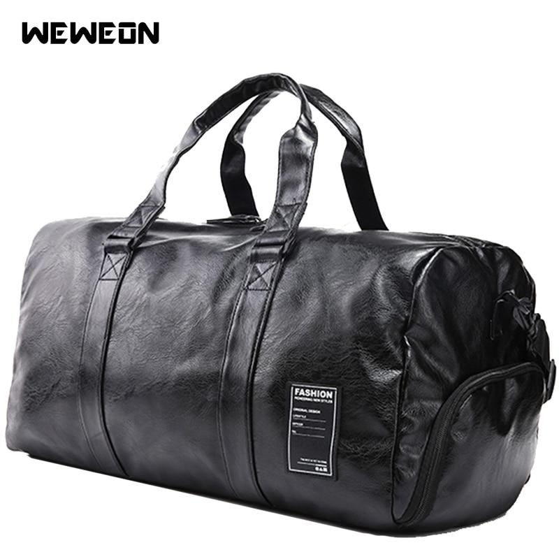 Men's Sports Bag Gym Handbag For Fitness Genuine Leather Corium Training Shoulder Bag Shoes Compartment