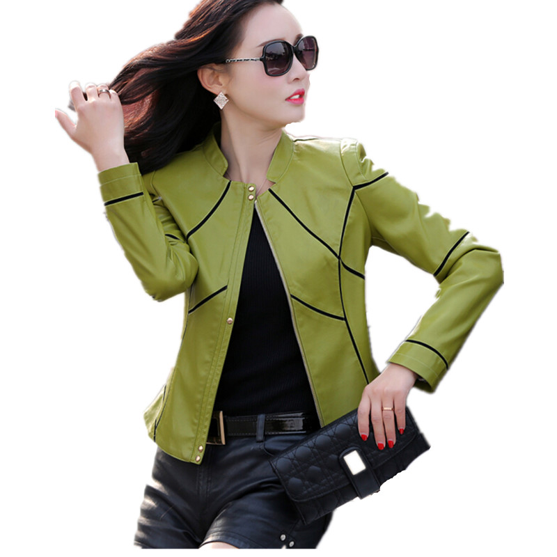 Fashion female   leather   coat 2019 spring and autumn clothing   leather   jacket women short design slim stand collar   leather   coat