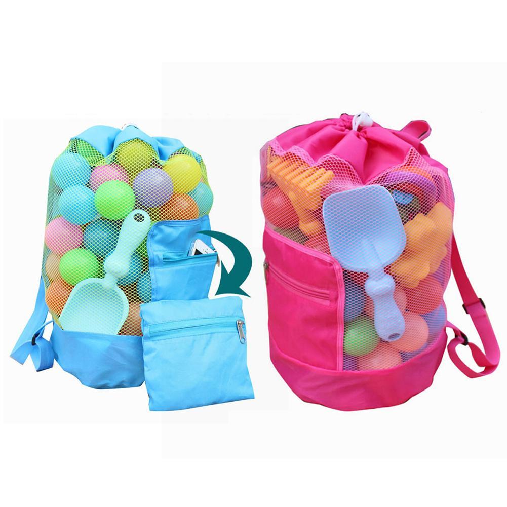 Children's Backpack Beach Bag Parent-child Style Foldable Storage Bag Beach Mesh Bath Toys Storage Bag Tote Bags