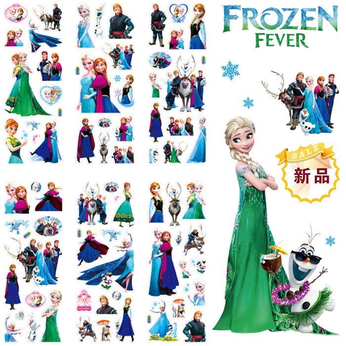12 Sheets/set Disney Frozen elsa and Anna Princess scrapbooking for kids rooms decor diary notebook decoration toy 3D <font><b>sticker</b></font> image