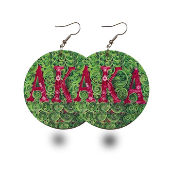AKA Fashion sorority African wooden Earrings