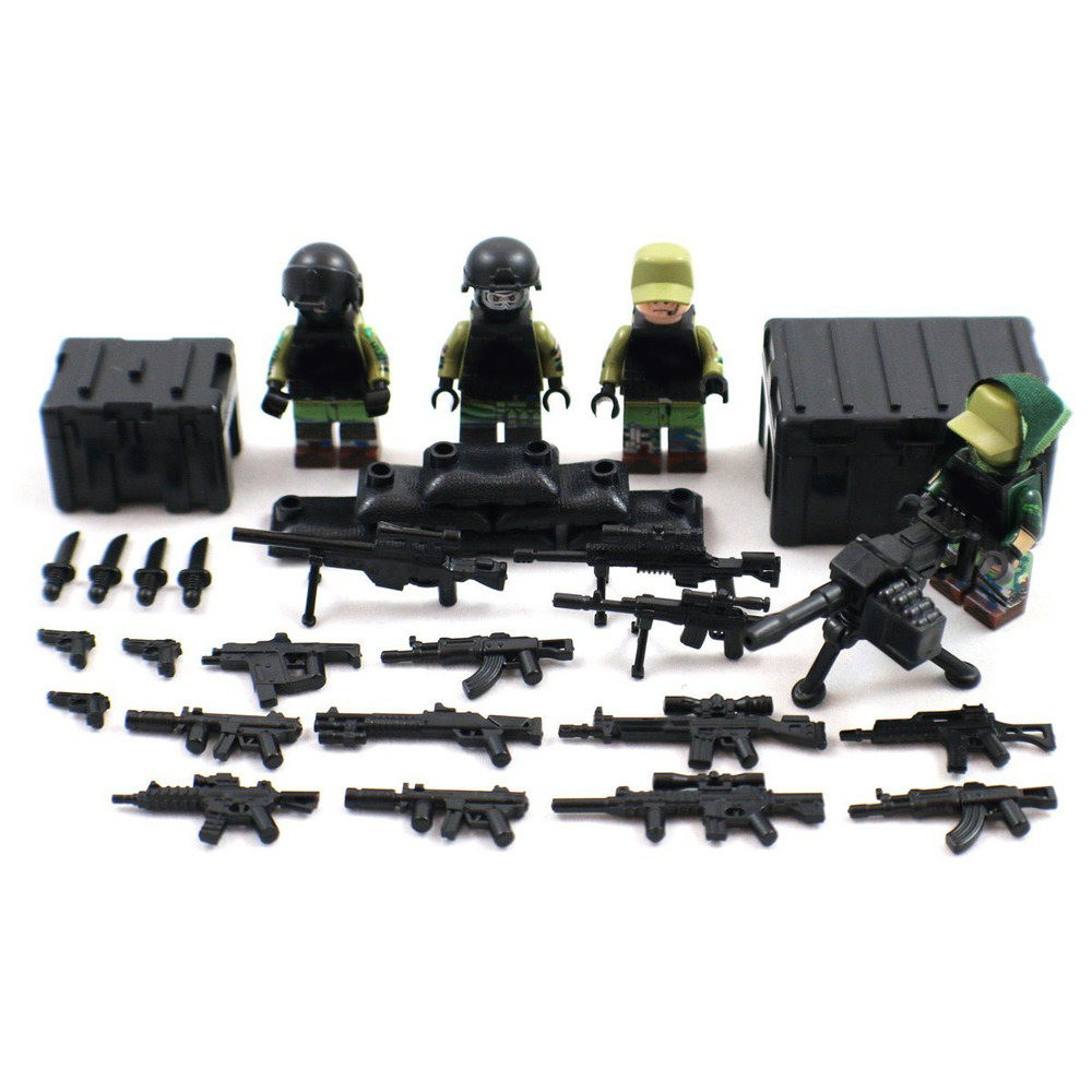 Decool 304-311 304-307 308-311 Russian Marine US Army Minifigure Anti-terrorism Soldier Figure Building Toy Compatible with Lego guerre moderne lego