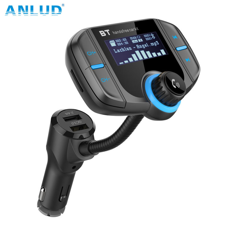 Bluetooth FM Transmitter Wireless In-car Radio Adapter Car Kit with Quick Charge 3.0 + 5V/2.4A Smart IC Dual USB Car Charger tronsmart ts cc2pc quick charge 2 0 two port car charger for galaxy s6
