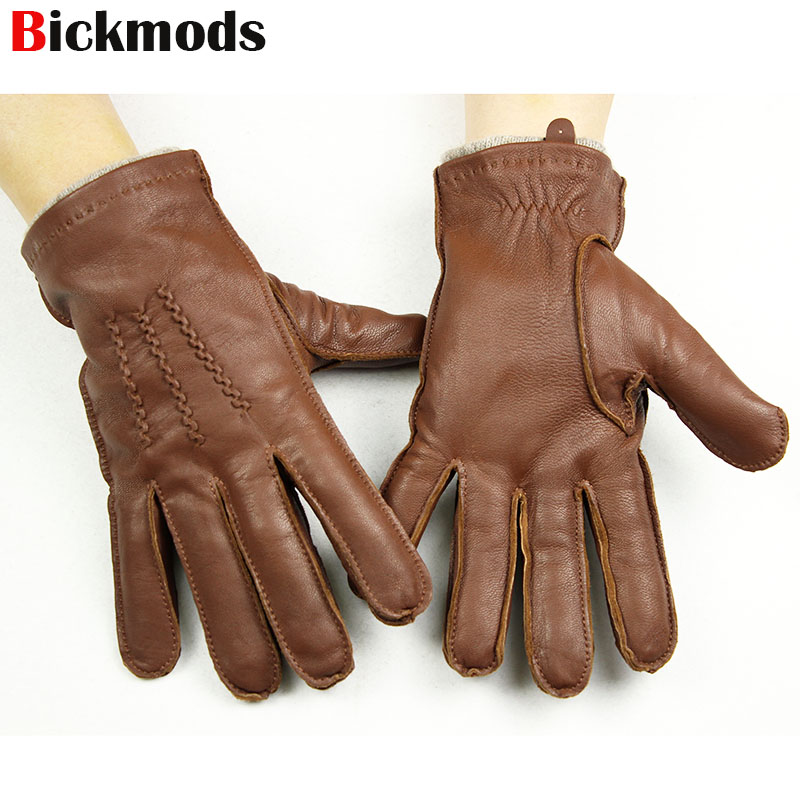 Sheepskin Gloves Men's New High-grade Imported Goatskin Suture Style Wool Lining Autumn Warm Male Leather Gloves