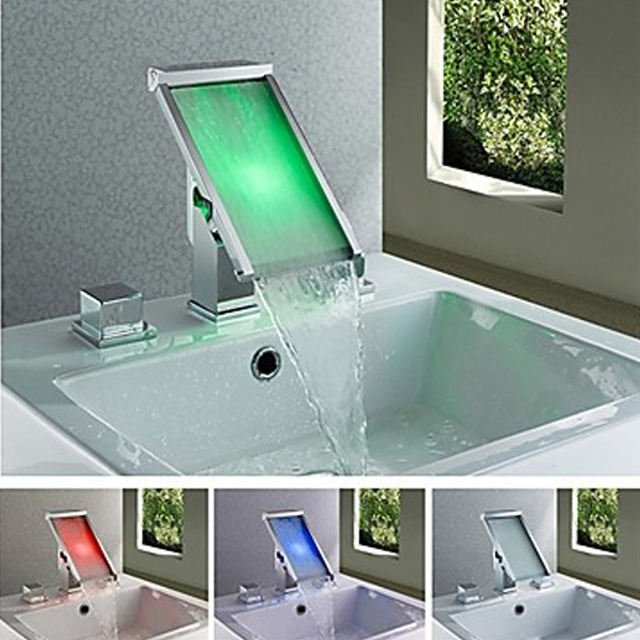 Temperature LED 3Color Changing Bathroom Basin Faucet Sink Face Tap ...