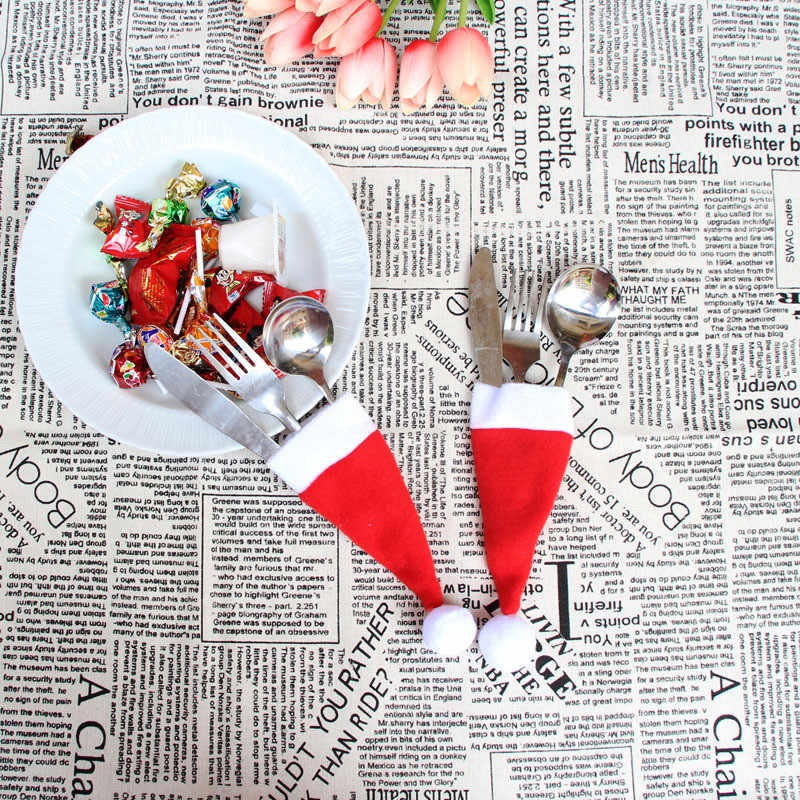 Wholesale Christmas Tableware Cover Decorative Tableware Knife Fork Set Christmas Hat Storage Tool Festival Table Decoration9.12