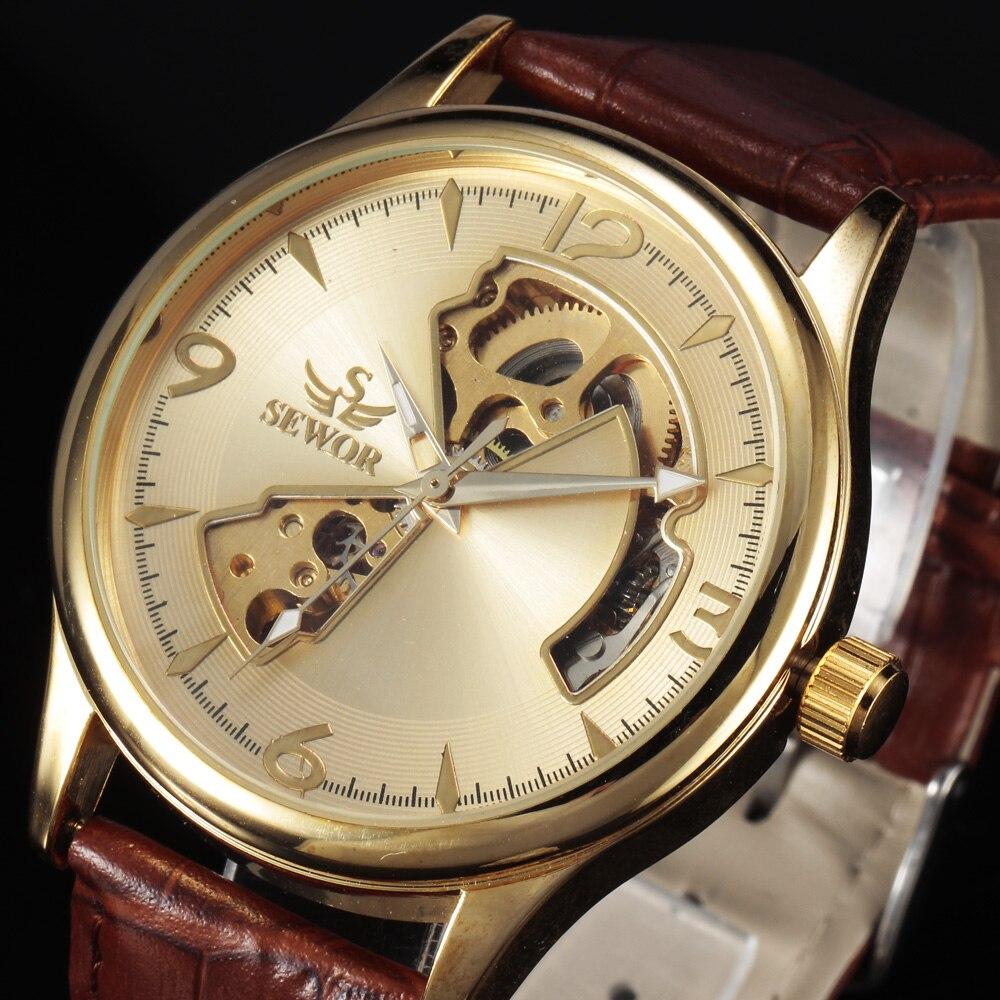 2016 Moda SEWOR Bărbați de aur Skeleton Military ceas de curea din - Ceasuri bărbați