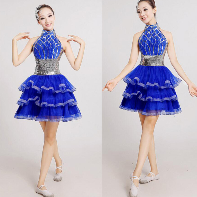 cd0a9cbe8 Blue Female dance costumes for women Sequined Hip Hop dance dress ...
