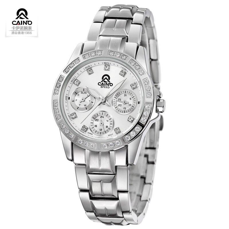 Luxury Brand CAINO 2016 Stainless Steel Ladies Watch Women Waterproof Crystal Diamond Quartz watch Clock Women