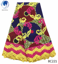 BEAUTIFICAL wax lace fabric ankara with fabrics african high quality multicolor pattern 6yards/piece 8C215-223