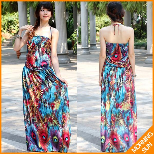 2017 hot sale fashion EuropeStyle bohemian peacock feather printing false two-piece long dresses for women #0065